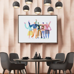 Abstract illustration print by Judy Kaufmann, with a group of colourful friends, on grey background, in dining room