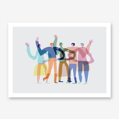 Abstract illustration print by Judy Kaufmann, with a group of colourful friends, on grey background.