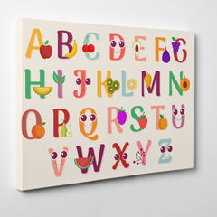 Canvas print with colourful alphabet letters and fruits, on light pink background - side view