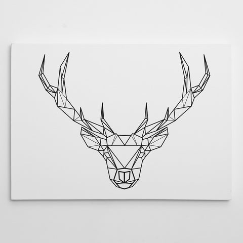 Geometric canvas print with black and white deer head.