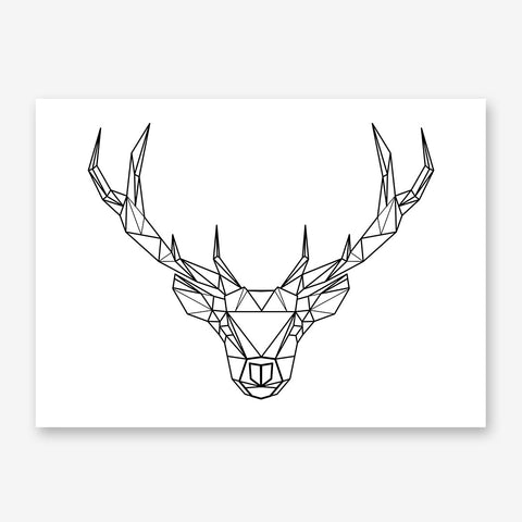 Geometric poster print with black and white deer head