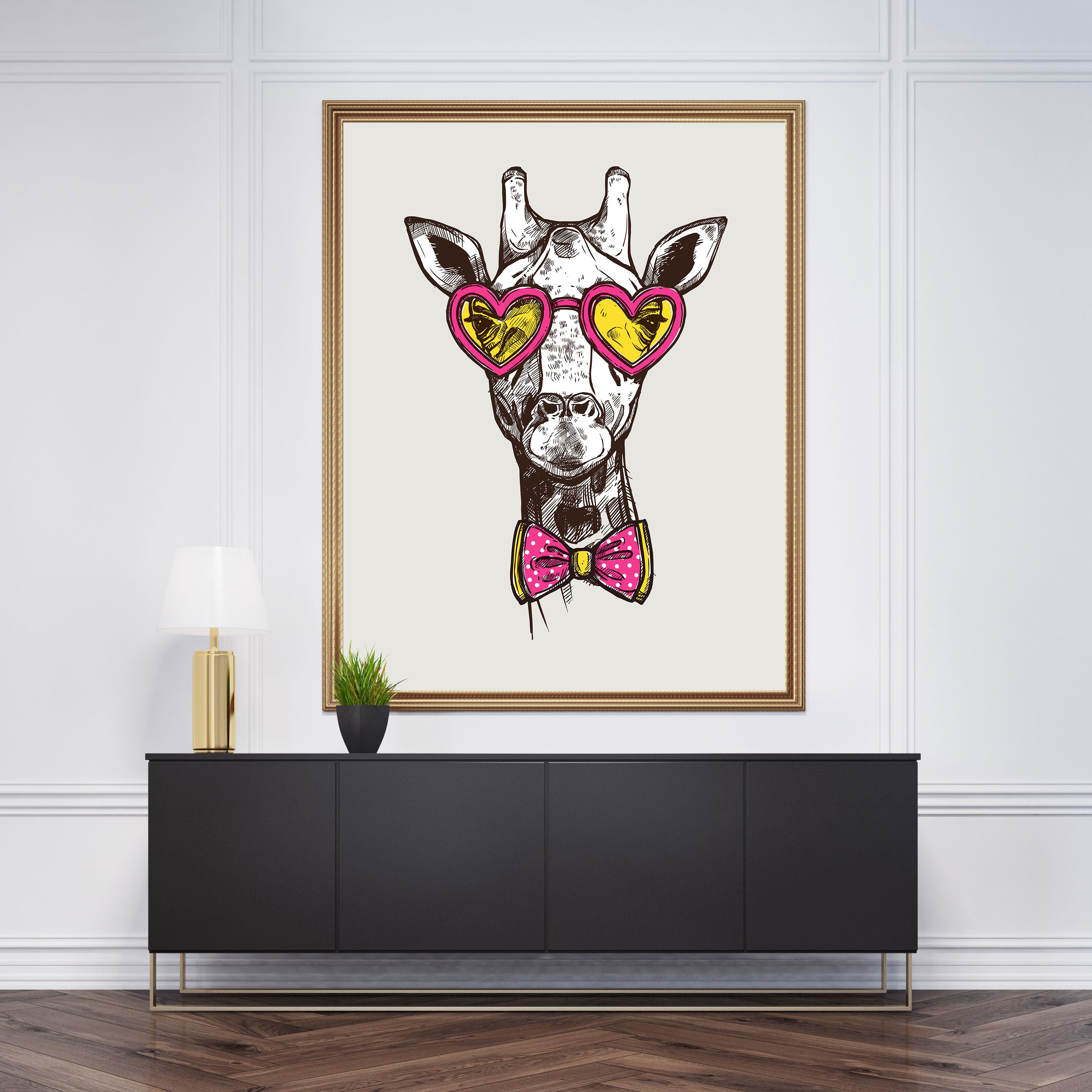 Sketch wall art decor with a cool giraffe with heart sunglasses and bow tie, on light grey background