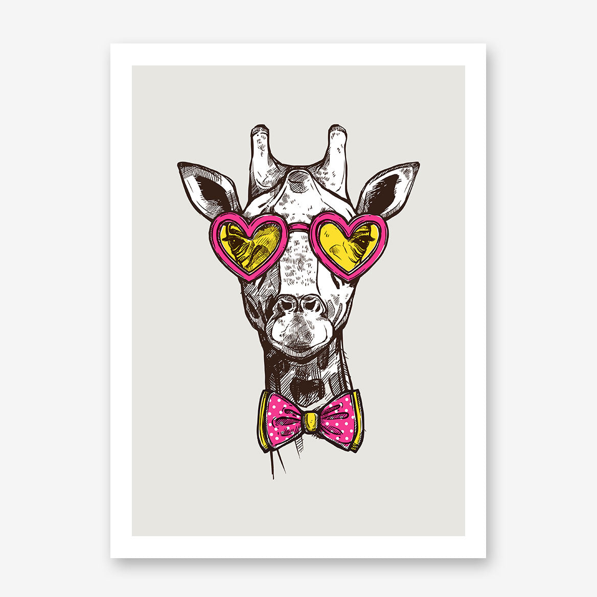 Sketch poster print with a cool giraffe with heart sunglasses and bow tie, on light grey background