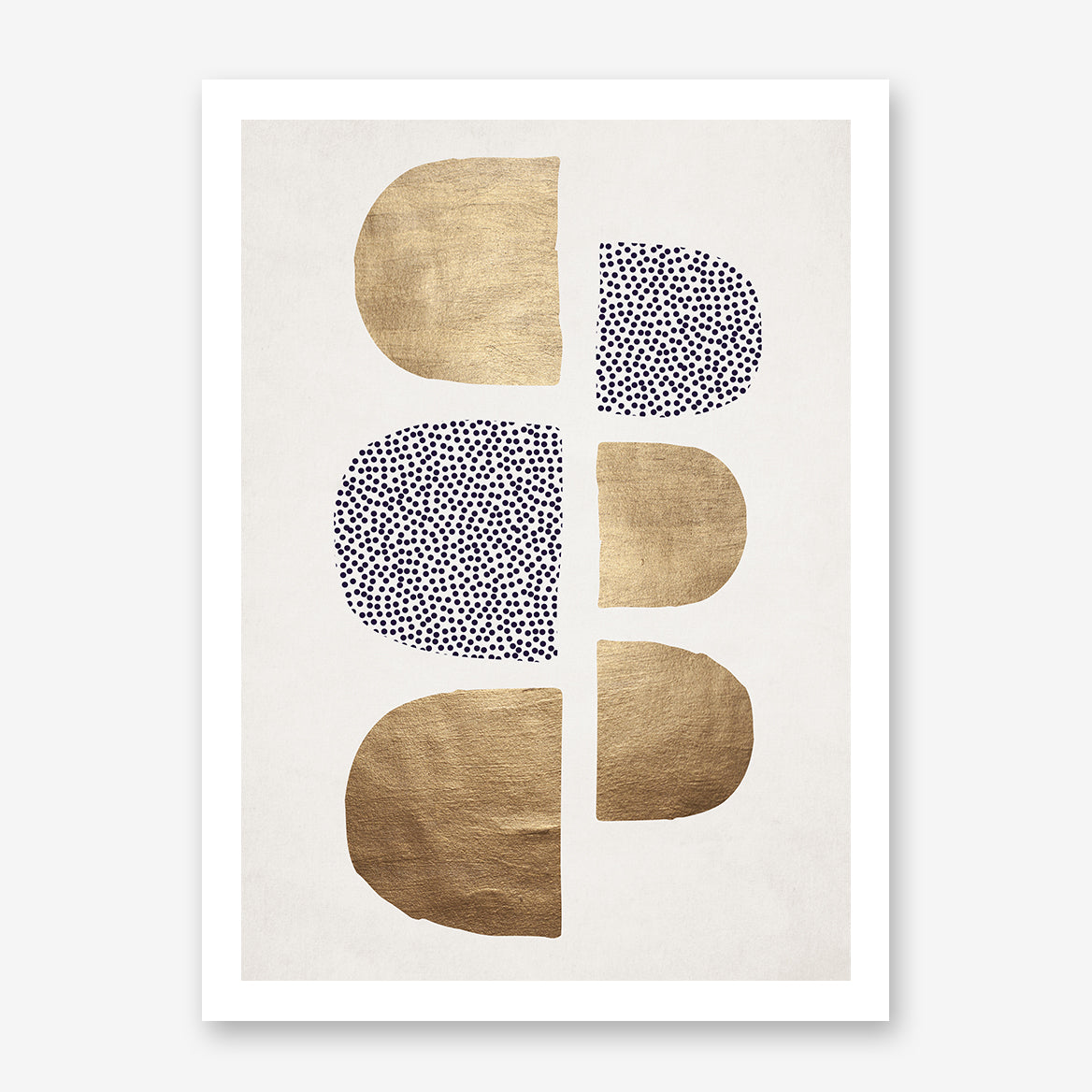 Abstract poster print by Kubistika, with textured gold and purple dots shapes, on light grey background.