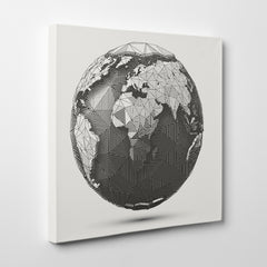 Geometric canvas print with 3D Earth Globe on light grey background - side view