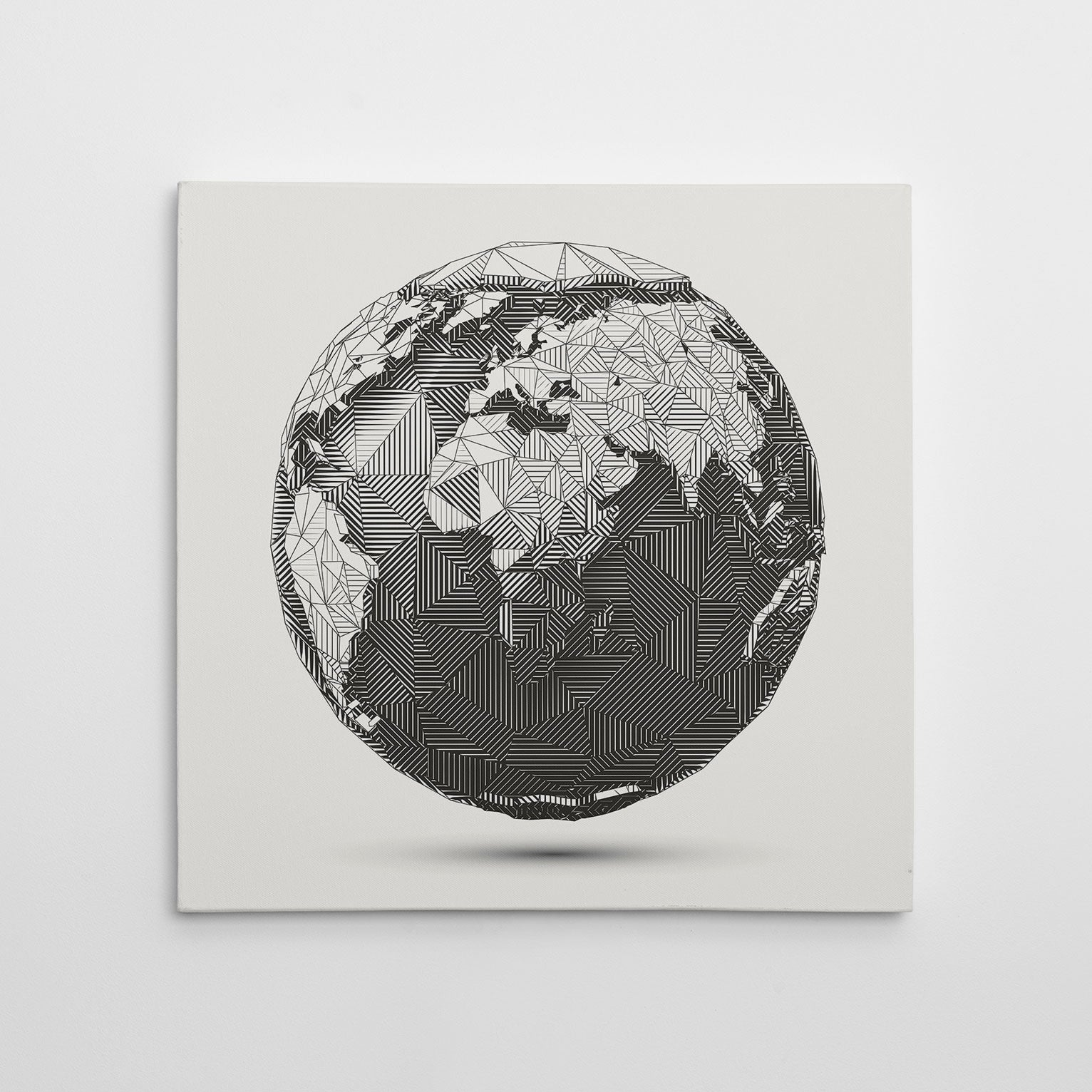 Geometric canvas print with 3D Earth Globe on light grey background.