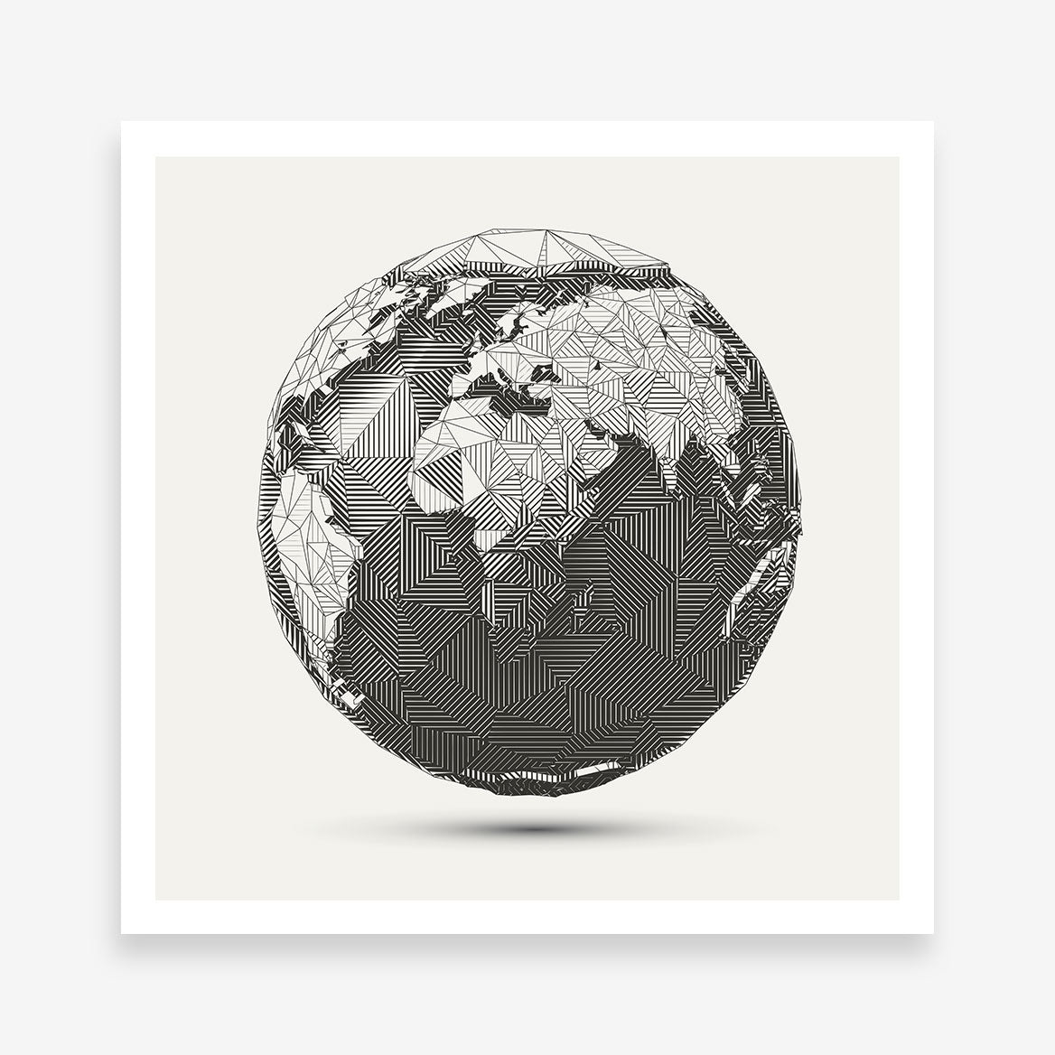 Geometric poster print with 3D Earth Globe, on light grey background
