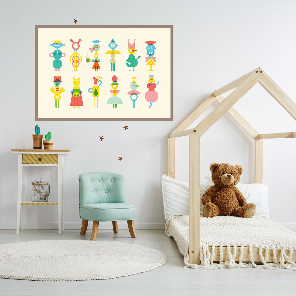 Geometric illustration print with colourful characters, on beige background, in kids room