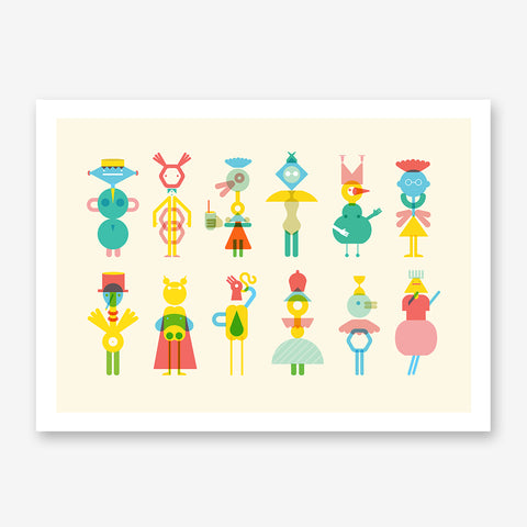 Geometric illustration print with colourful characters, on beige background.