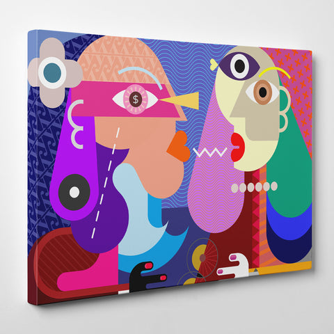 Geometric canvas print with colourful kissing couple - side view