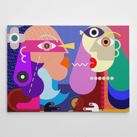 Geometric canvas print with colourful kissing couple