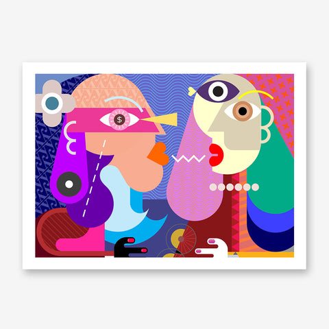 Geometric poster print with colourful kissing couple.