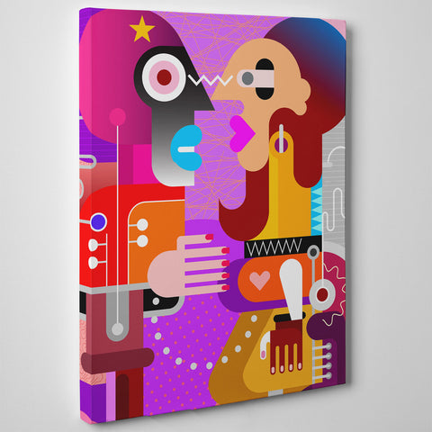 Geometric canvas print with abstract colourful couple - side view