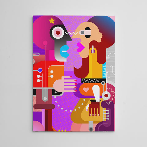 Geometric canvas print with abstract colourful couple
