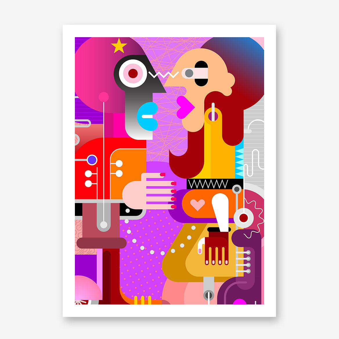 Geometric poster print with abstract colourful couple.
