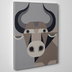 Geometric poster print with brown cow, on grey background - side view
