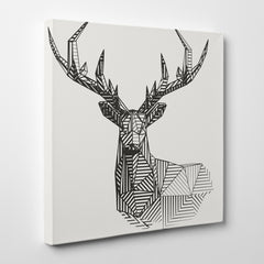Geometric canvas print 3D deer, on light grey background - side view
