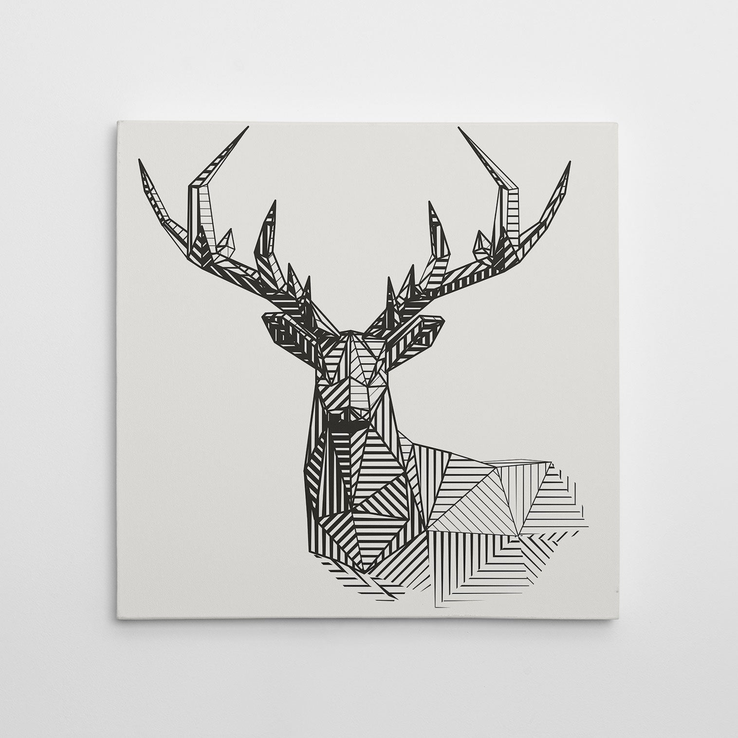 Geometric canvas print 3D deer, on light grey background