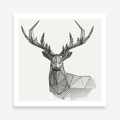 Geometric poster print 3D deer, on light grey background.