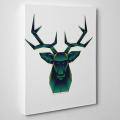 Geometric canvas print with abstract green deer, on white background - side view