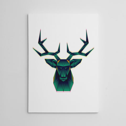 Geometric canvas print with abstract green deer, on white background.