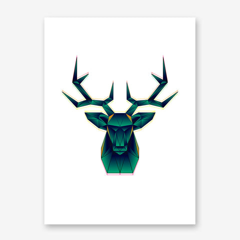 Geometric poster print with abstract green deer, on white background.