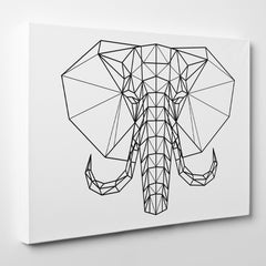 Geometric canvas print with black and white elephant head - side view