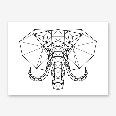 Geometric poster print with black and white elephant head.
