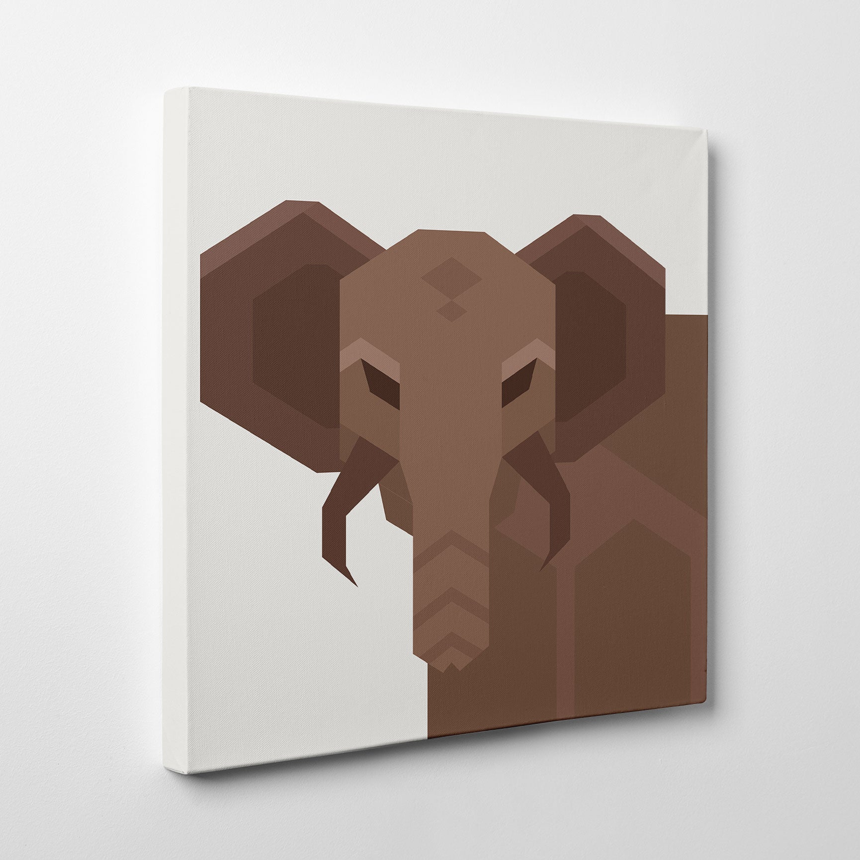 Geometric canvas print with an abstract brown elephant, on light grey background - side view
