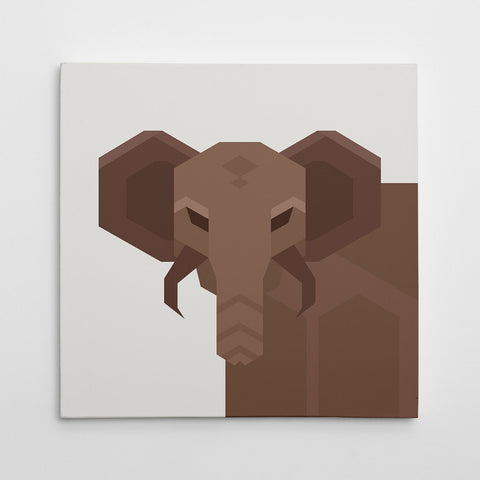 Geometric canvas print with an abstract brown elephant, on light grey background