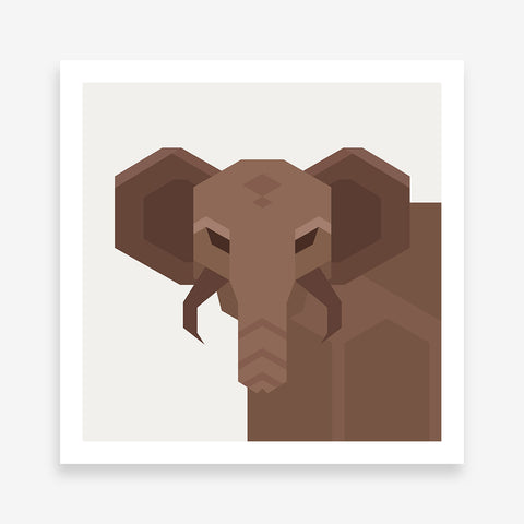 Geometric poster print with an abstract brown elephant, on light grey background