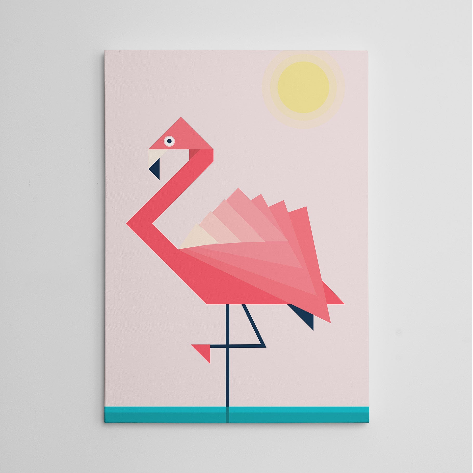 Geometric canvas print with pink flamingo (left), on pink and blue background.