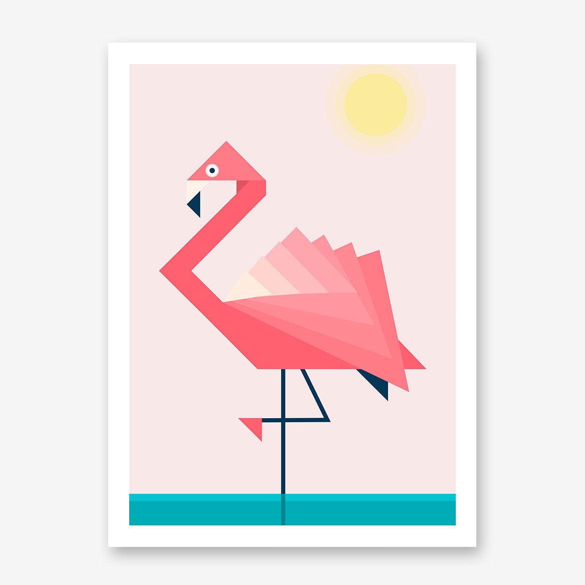 Geometric poster print with pink flamingo (left), on pink and blue background.