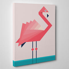 Geometric canvas print with pink flamingo, on pink and blue background - side view