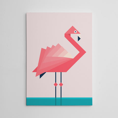 Geometric canvas print with pink flamingo, on pink and blue background.