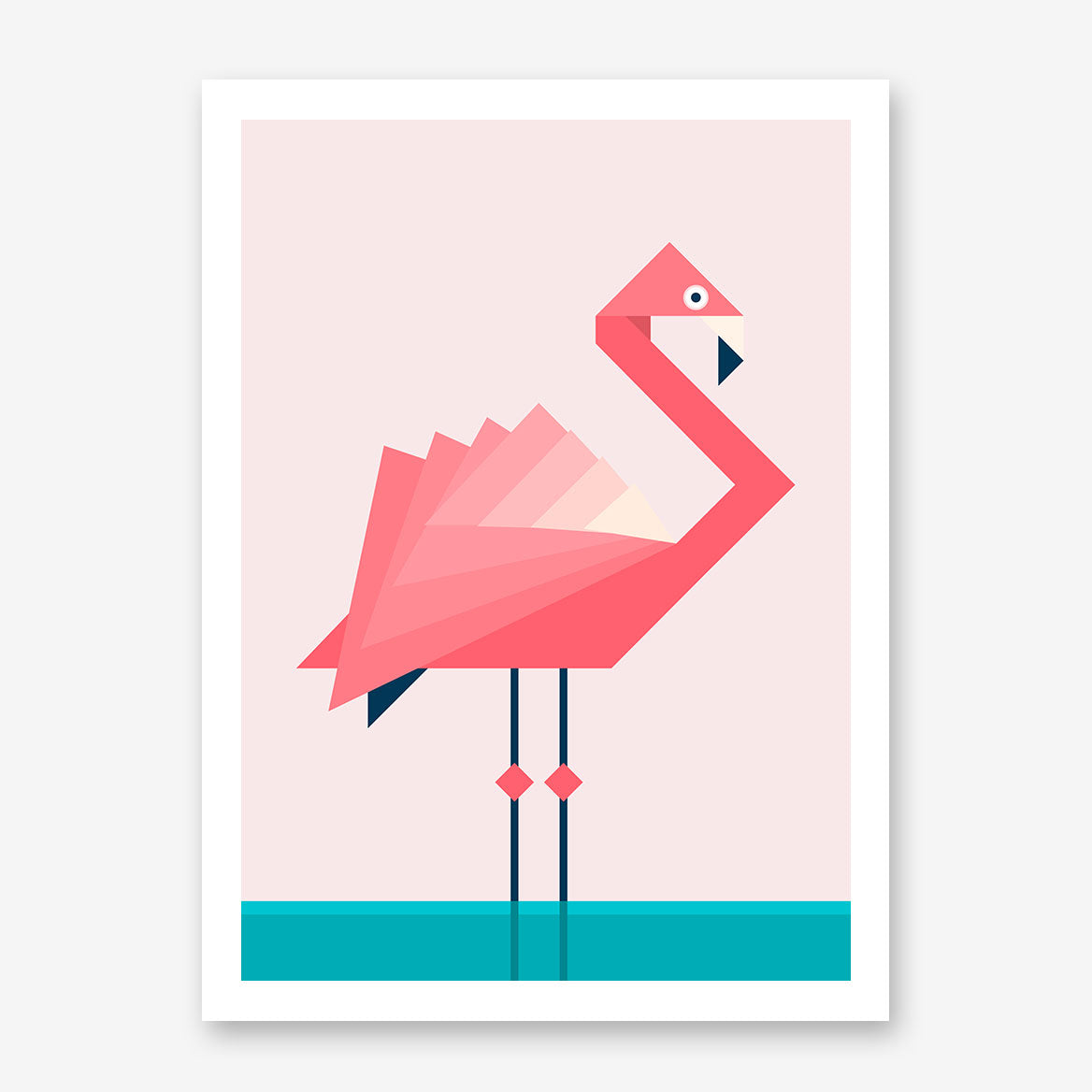 Geometric poster print with pink flamingo, on pink and blue background