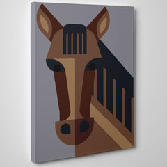 Geometric poster print with a brown horse, on grey background - side view