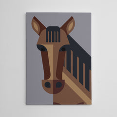 Geometric poster print with a brown horse, on grey background