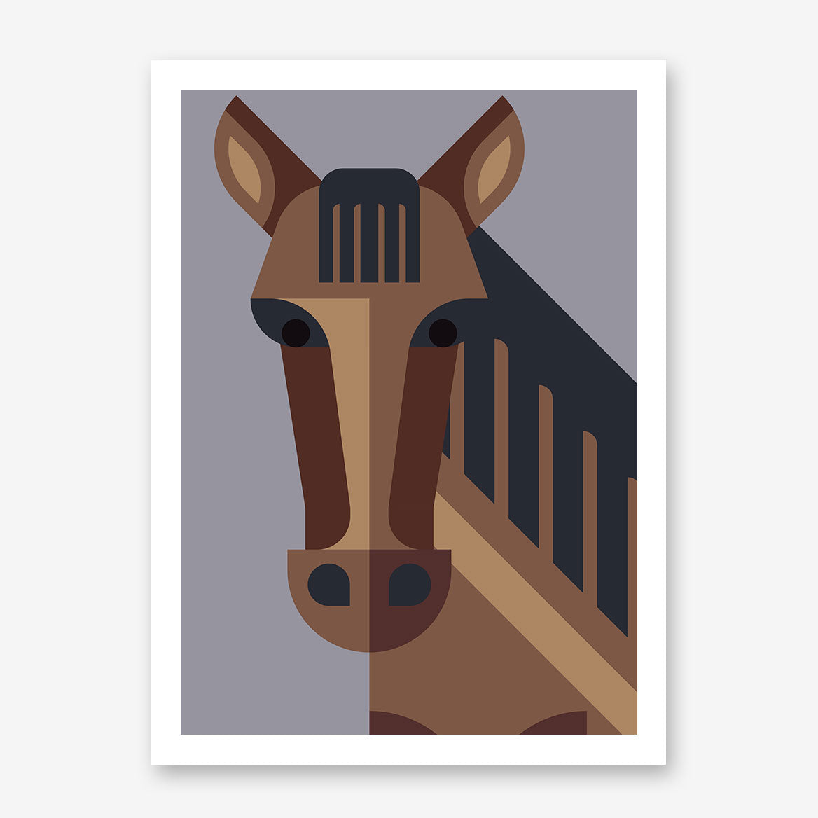Geometric poster print with brown horse, on grey background