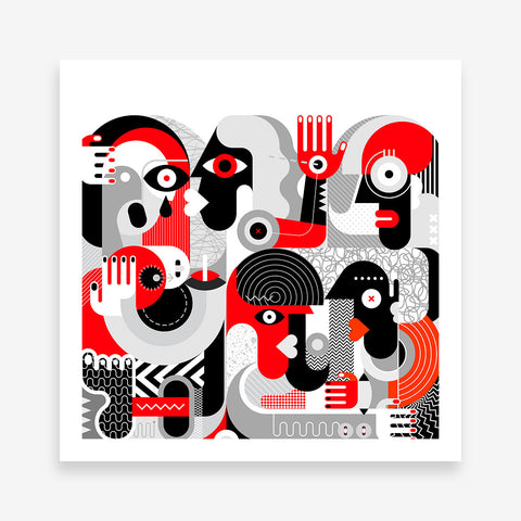 Geometric poster print with hugging and kissing couples, on light white background