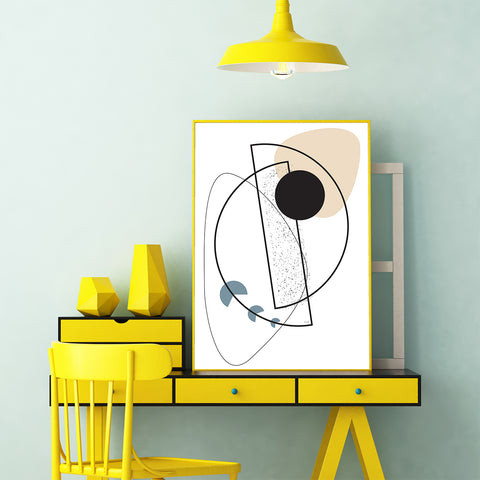 Geometric line art print with shapes, on white background, office view