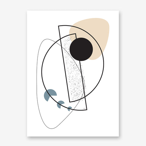 Geometric line art print by Linda Gobeta, with shapes, on white background.