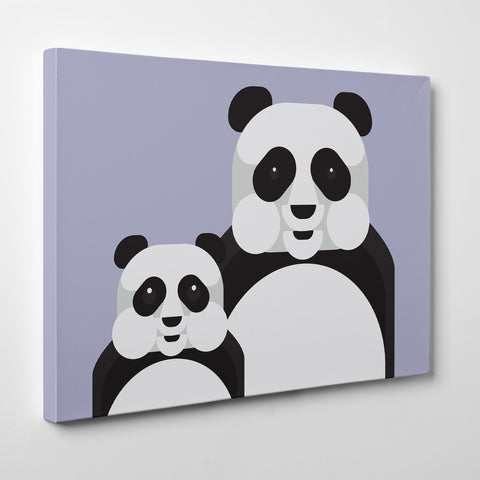 Geometric canvas print with 2 pandas, on grey background - side view