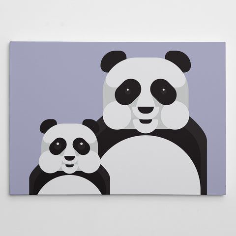 Geometric canvas print with 2 pandas, on grey background
