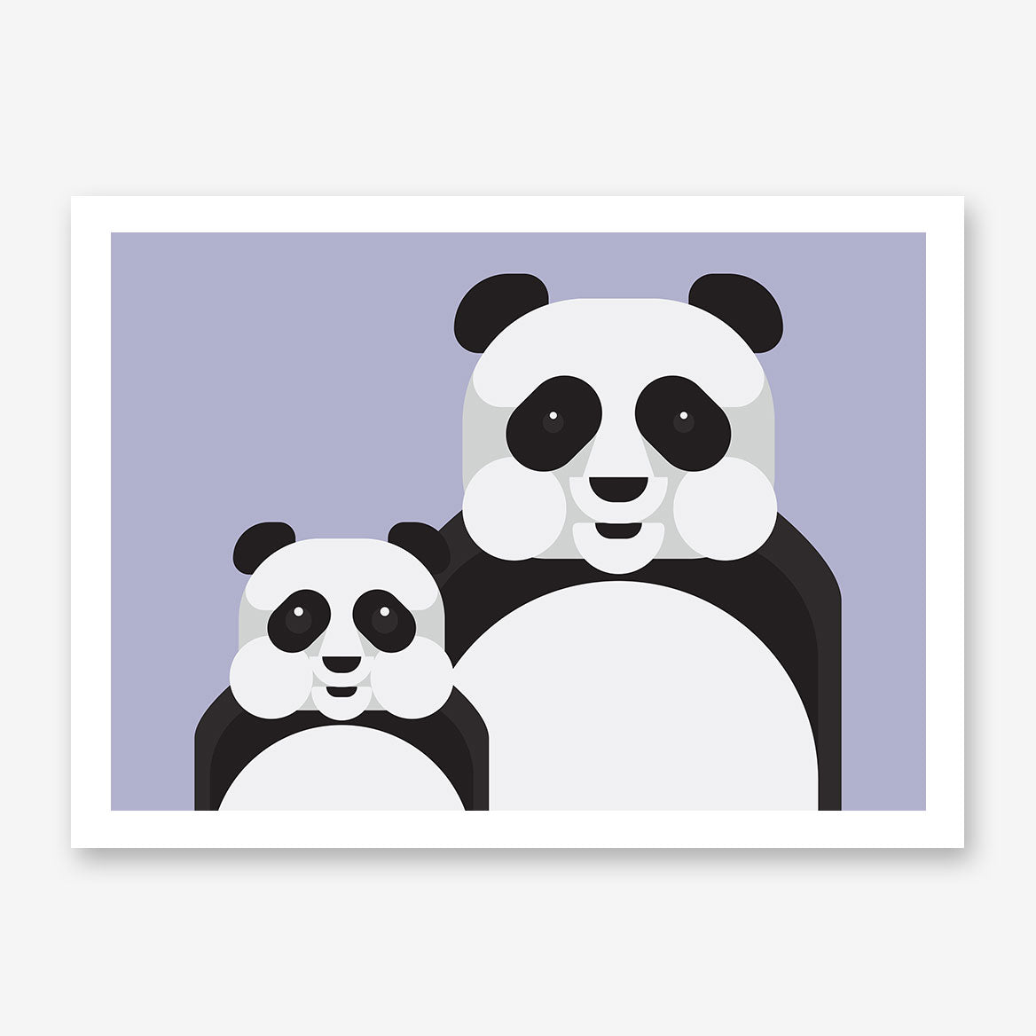 Geometric poster print with 2 pandas, on grey background.