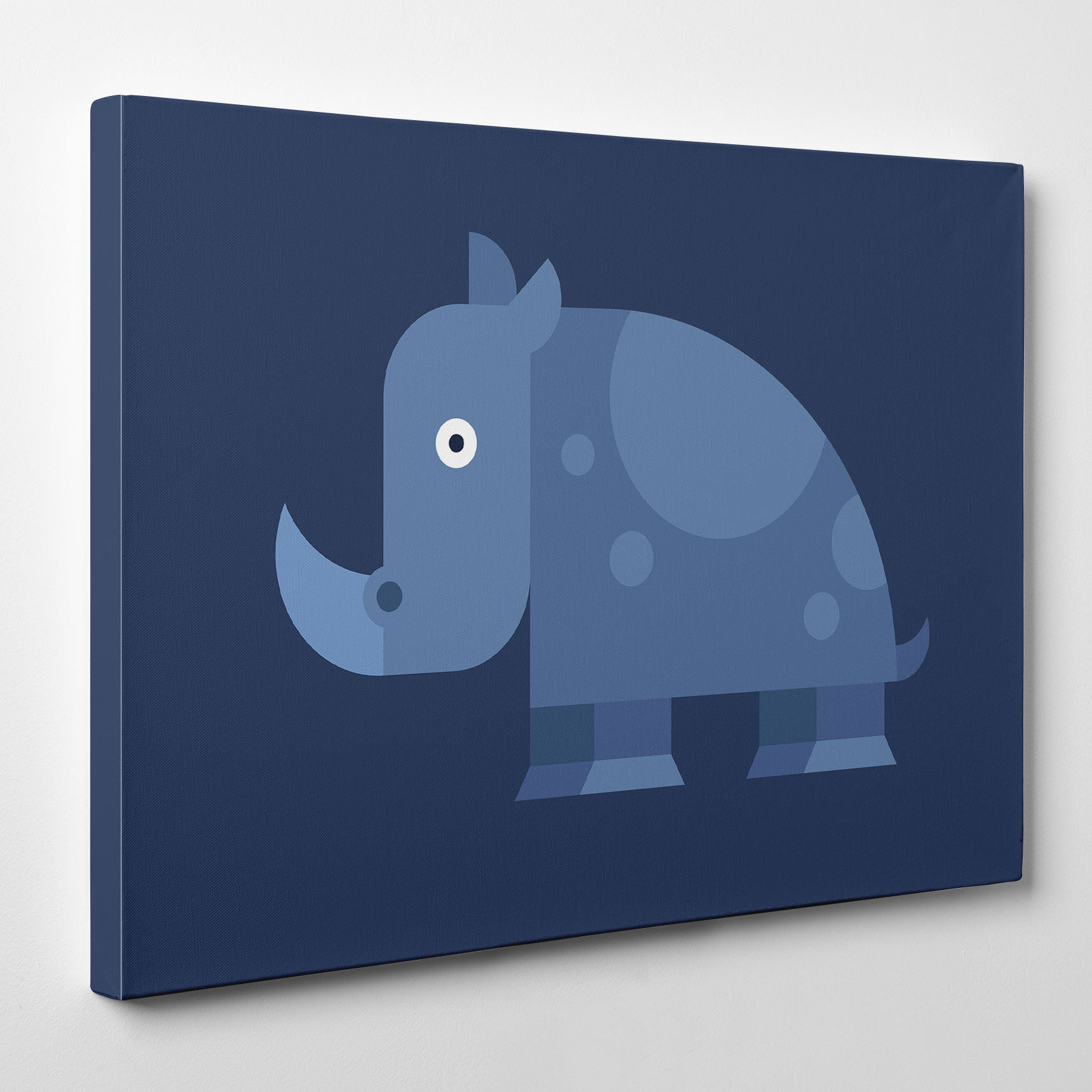 Geometric canvas print with blue rhino, on blue background.