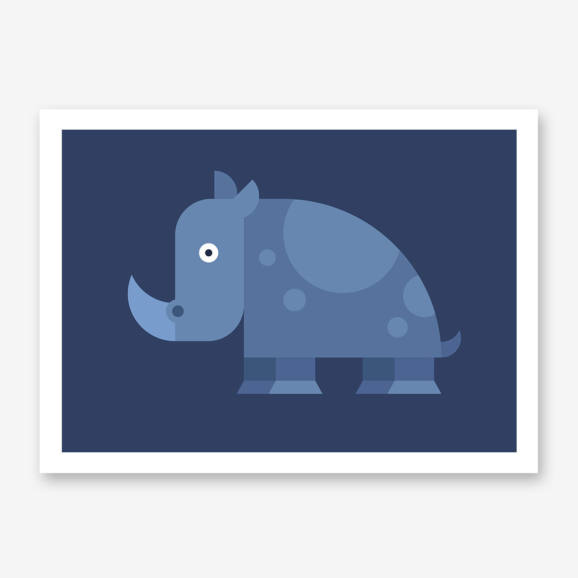 Geometric poster print with blue rhino, on blue background