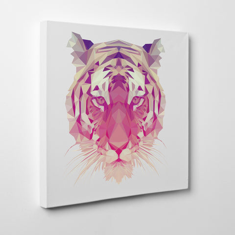 Geometric canvas print with a tiger, on light grey background - side view