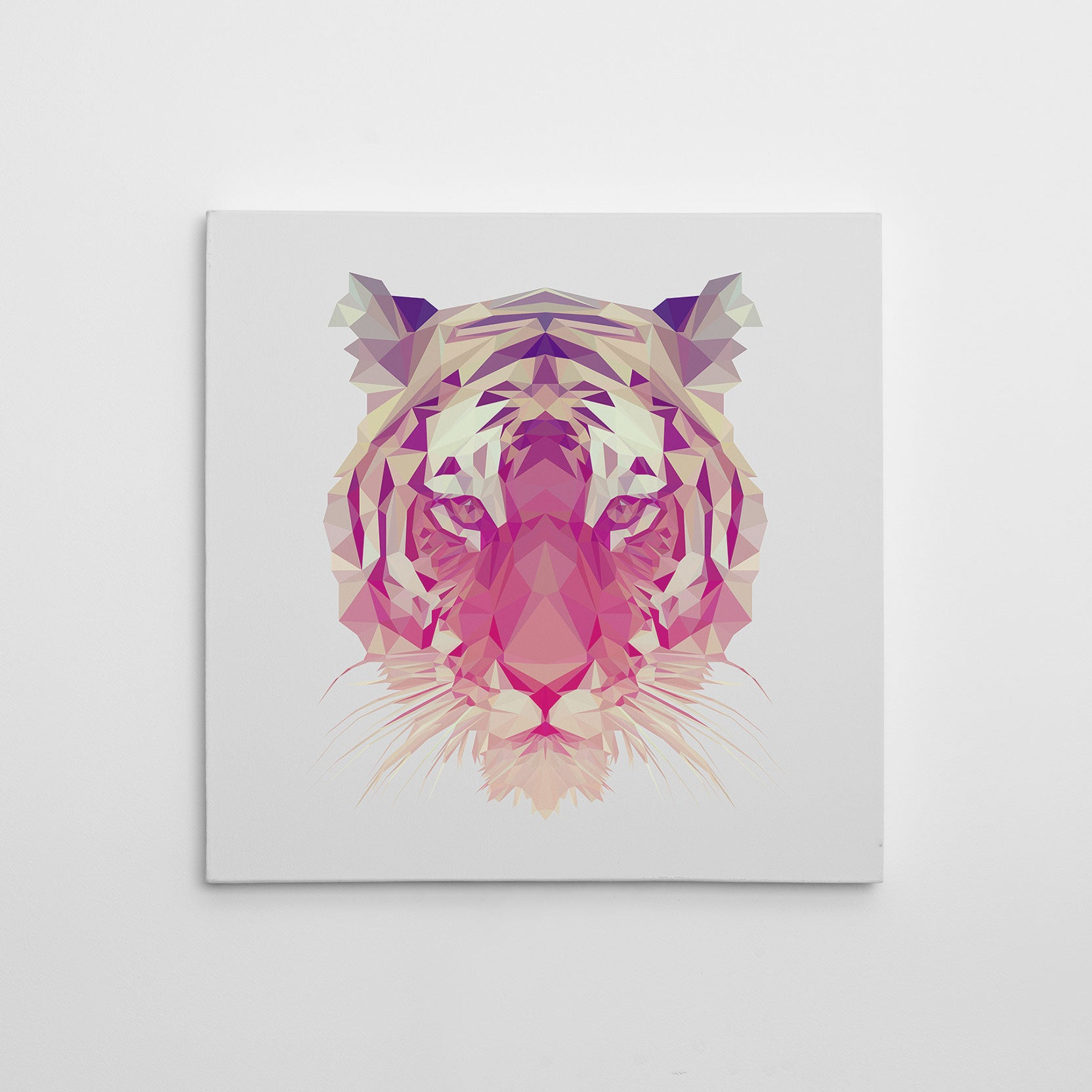Geometric canvas print with a tiger, on light grey background.