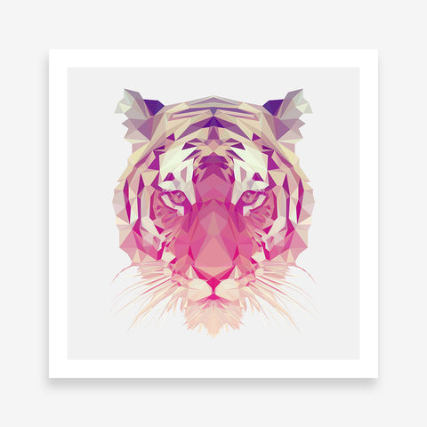 Geometric poster print with a tiger, on light grey background